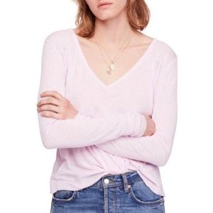 Free People Light Pink Rock The Boat Tee